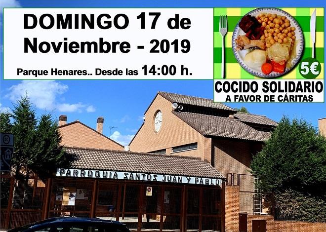 Cocido Solidario a Favor de Cáritas: Domingo 17 a las 14:00h en la Parroquia Santos Juan y Pablo de Parque Henares.