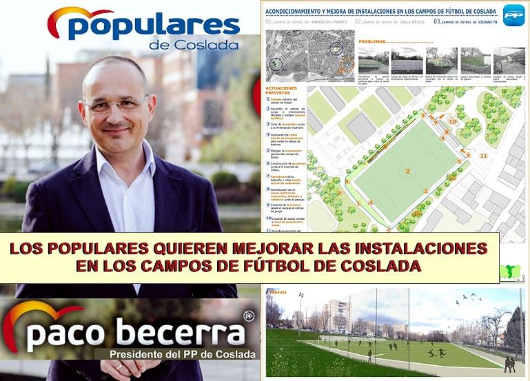 El PP de Coslada quiere mejorar las instalaciones de los campos de Fútbol del municipio.