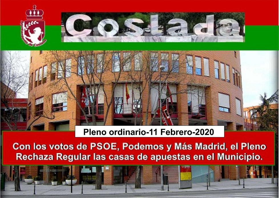 El pleno rechaza regular la instalación de los locales de apuestas en Coslada.