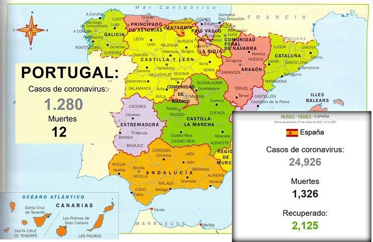 El Covid-19 |  En España registra 1.350 muertos y roza los 25.000 infectados.