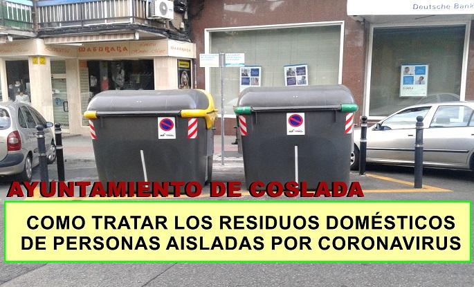 El Ayuntamiento informa como gestionar los residuos domésticos de personas aisladas.