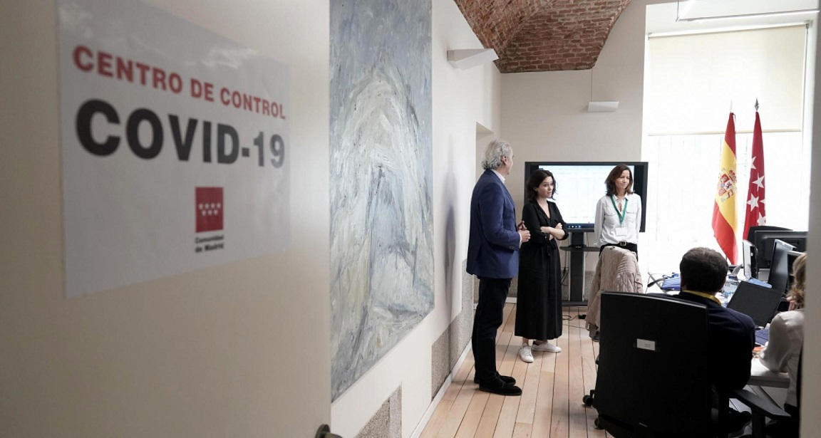 Comunidad de Madrid, Inaugura un Centro de Control permanente del Coronavirus.