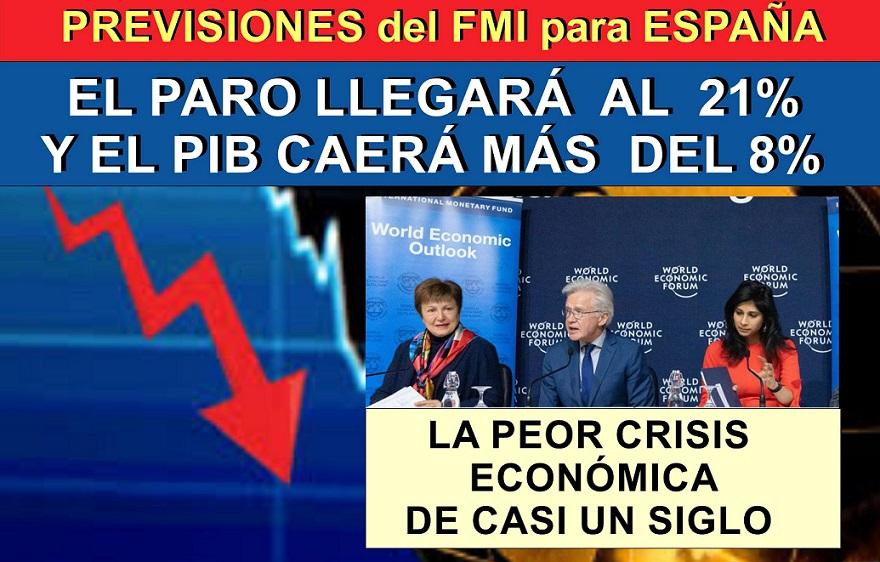 En España el paro subirá por encima del 21% y el PIB caerá más del 8% según el FMI.