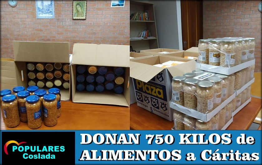 Covid19: El PP de Coslada dona unos 750 kilos de alimentos a Cáritas.