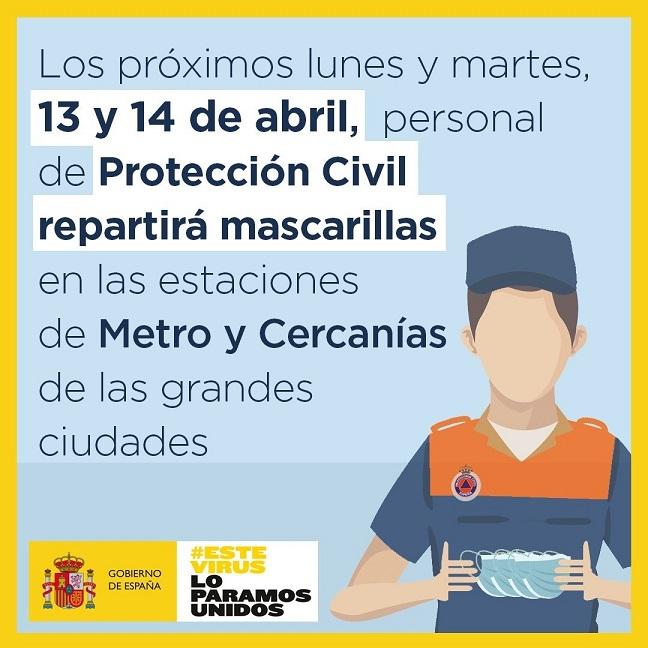 El Gobierno distribuirá mascarillas higiénicas, los días 13 y 14 de abril en estaciones de Metro y Cercanías de grandes ciudades.