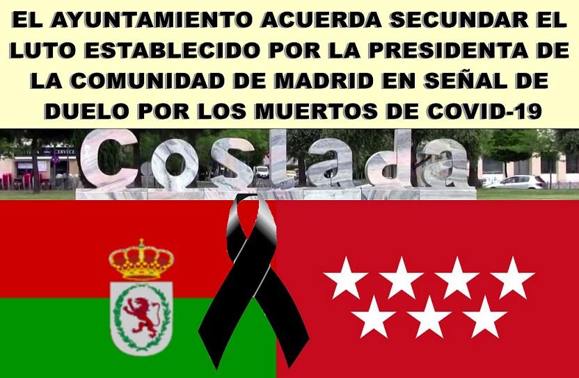 Coslada: El ayuntamiento en Pleno, acuerda secundar el luto establecido por la presidenta de la Comunidad de Madrid
