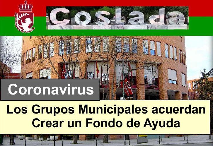 Coslada los grupos municipales acuerdan la creación de un Fondo de Ayuda para el coronavirus.