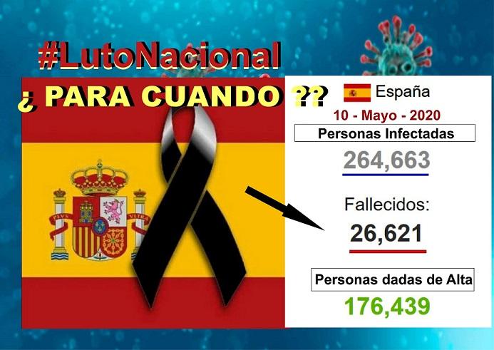 Sánchez anuncia que  decretará luto Nacional y un acto de homenaje a las víctimas del coronavirus, cuando España  HAYA SUPERADO la crisis sanitaria.