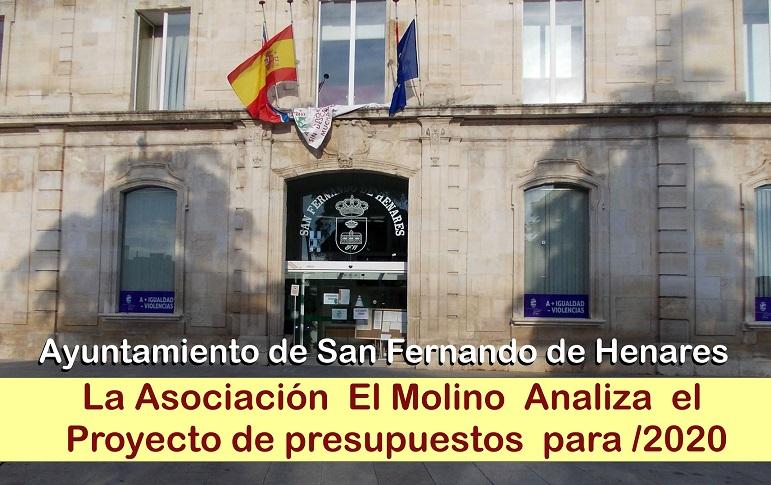 Ayto. de San Fernando de Henares: La Asc. El Molino analiza detalladamente los presupuestos aprobados provisionalmente para 2020