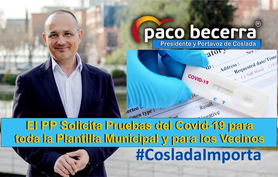 El PP de Coslada propone  que el Ayuntamiento realice pruebas de diagnóstico del Covid-19 a toda la plantilla municipal y a los vecinos.