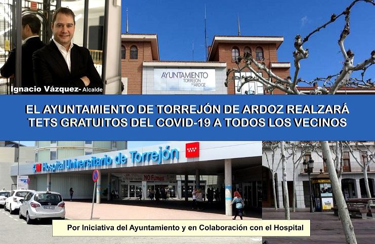 El Ayuntamiento de Torrejón realizará Test GRATUITOS A TODOS SUS VECINOS, en colaboración con el Hospital Universitario de Torrejón de Ardoz..