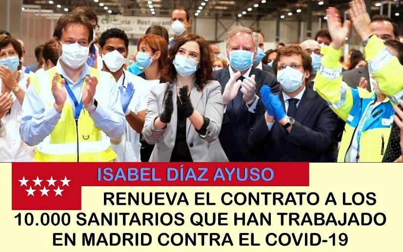 La presidenta de la Comunidad de Madrid renueva hasta diciembre el contrato a 10.000 sanitarios que han trabajado contra el covid-19.