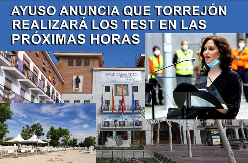 Isabel Díaz Ayuso, anuncia que Torrejón de Ardoz podrá empezar a realizar TEST prometidos en las próximas horas .