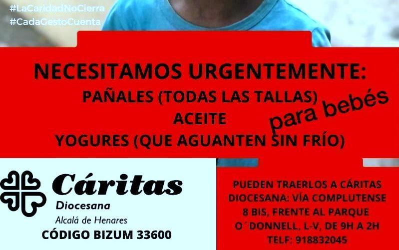 #CadaGESTOcuenta. Cáritas Diocesana necesita Pañales para bebés y Alimentos no perecederos, para atender a las familias dagnificadas por El Covid-19