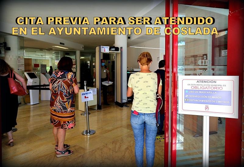 El Ayuntamiento de Coslada, solo atenderá presencialmente a los vecinos mediante CITA PREVIA, para Información, Registro y Estadíatica.