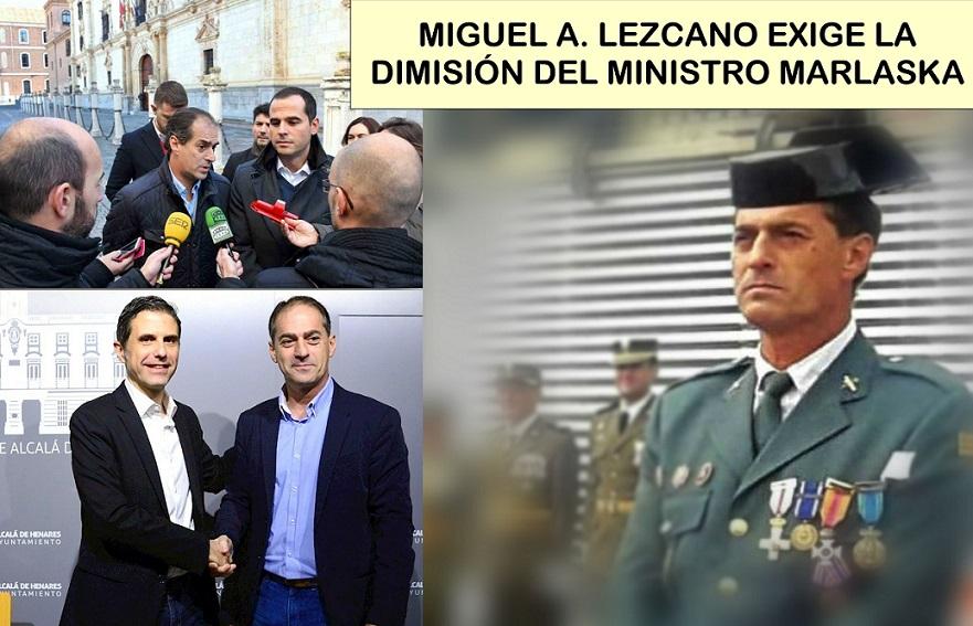 M. A. Lezcano, expresidente de la Unión de Guardias Civiles y portavoz de CS en Alcalá, exige la dimisión del Ministro Marlaska.