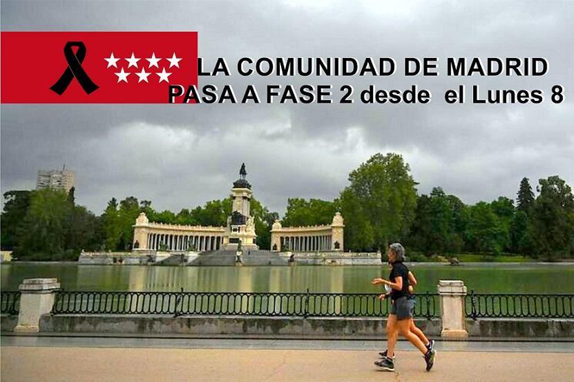 La Comunidad de Madrid  desde el lunes 8 de Junio, pasa a la Fase 2 de la desescalada.
