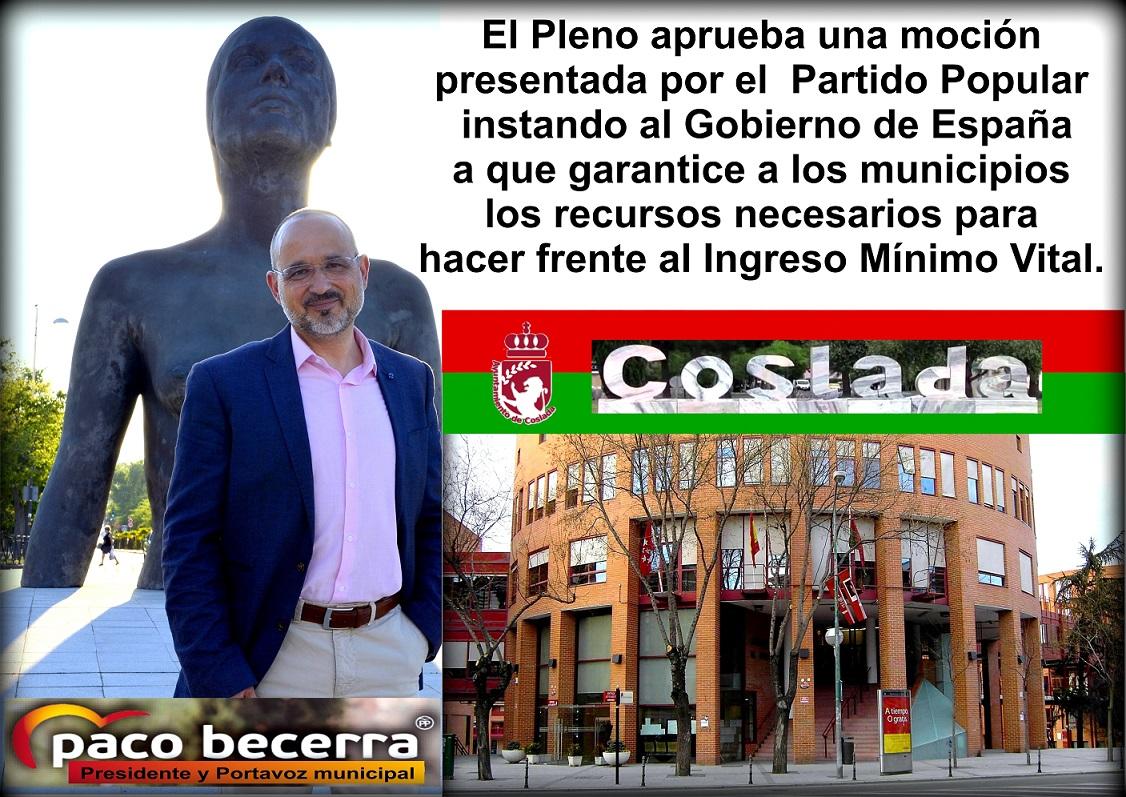 El Pleno de Coslada aprueba una moción instando al Gobierno de España a que garantice a los municipios los recursos necesarios para hacer frente al Ingreso Mínimo Vital.