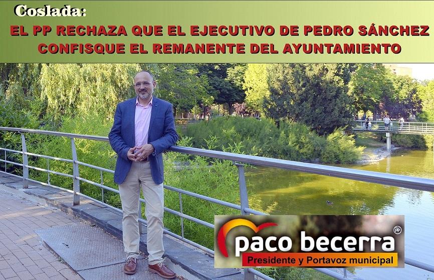 El PP de Coslada rechaza que el Ejecutivo de Pedro Sánchez confisque el remanente del Ayuntamiento.