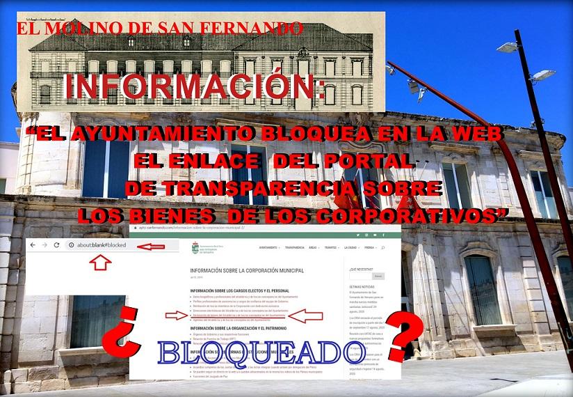 Bloquean en la web del Ayuntamiento, el enlace del portal de Transparencia sobre los bienes de los corporativos.