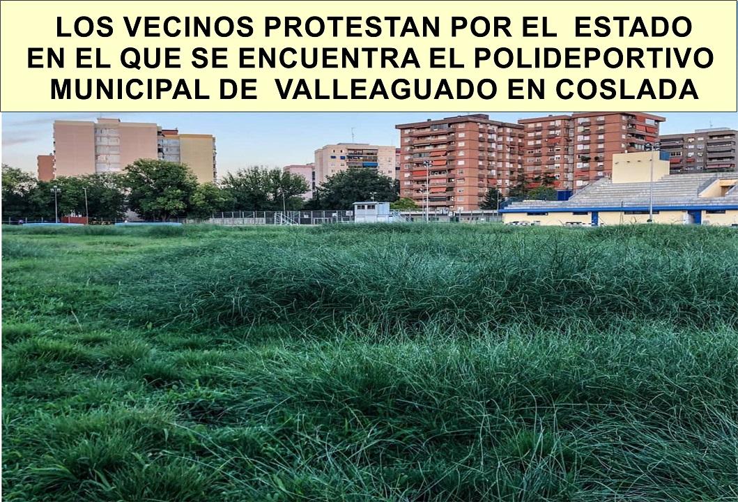 Abandono por falta de mantenimiento del polideportivo municipal de Valleaguado en Coslada.
