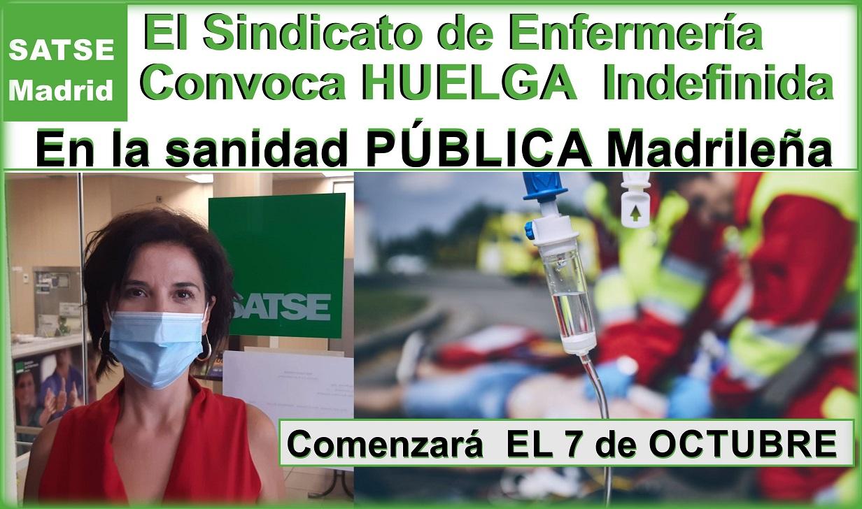 El Sindicato SATSE-Madrid convoca huelga de toda la Enfermería PÚBLICA Madrileña