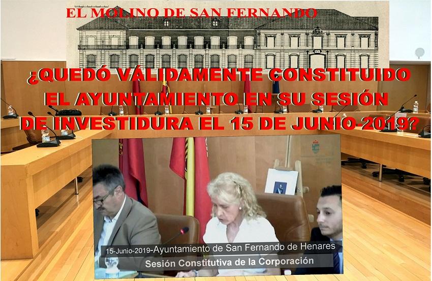 La Asc. El Molino pregunta: ¿Quedó Válidamente constituido el Ayuntamiento en su Sesión de investidura del 15 de Junio de 2019??