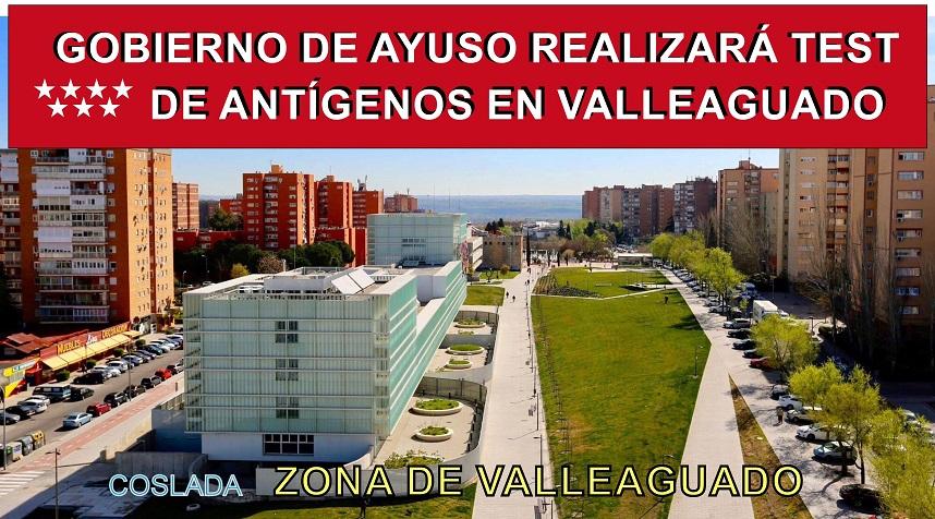 Coslada: La Comunidad de Madrid realizará test de antígenos en la zona básica de salud de Valleaguado.