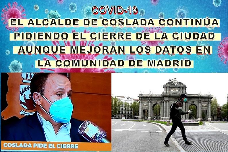 Coslada|El Alcalde continúa pidiendo el cierre de la Ciudad, aunque caen los contagios en Madrid hasta los 162 diarios y las UCI bajan por primera vez en meses.