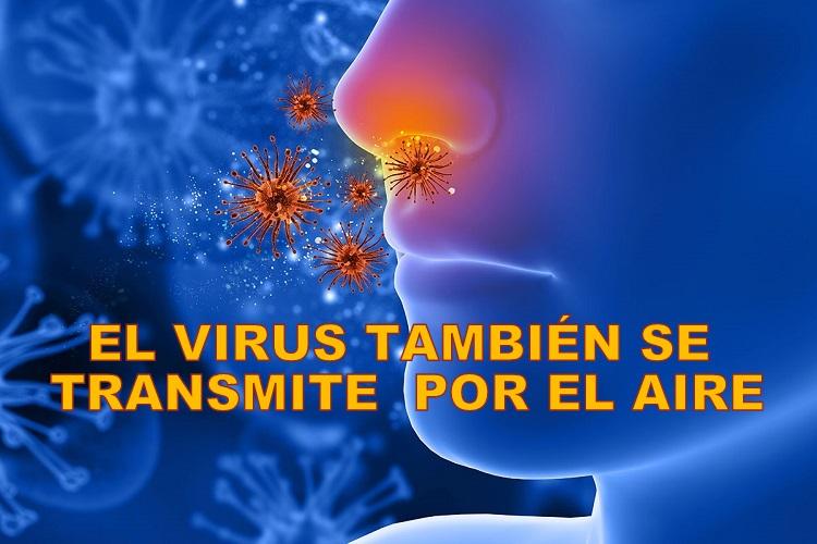 El coronavirus también se transmite por el aire y queda flotando durante horas en lugares cerrados.