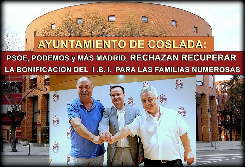 Coslada: PSOE, Podemos y Más Madrid rechazan recuperar las bonificaciones en el I.B.I. para las familias numerosas.