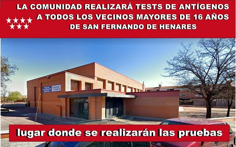 La Comunidad realizará a todos los vecinos de San Fernando de Henares Tests de antígenos a partir del Martes 26 de Enero.
