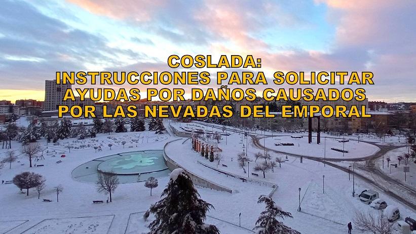 El Ayuntamiento de Coslada informa de los trámites a seguir para conseguir ayudas por daños producidos por las nevadas.