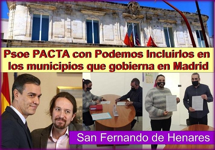 El PSOE pacta con Podemos en la Comunidad de Madrid, para meterlos en algunos gobiernos municipales.