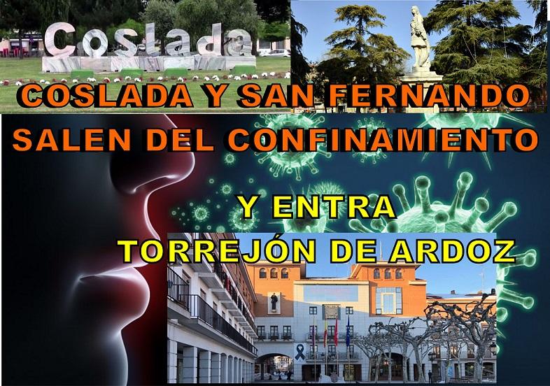 La Comunidad de Madrid levanta las restricciones en Coslada y San Fernando de Henares, pero perimetra el municipio de Torrejón de Ardoz.