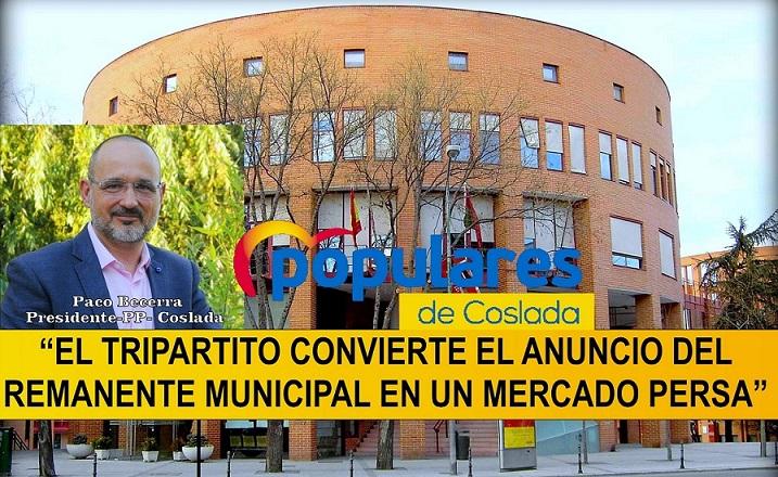 Coslada: Denuncian que el Gobierno Municipal realiza el reparto de los 8 millones de euros del remanente, sin concretar ninguna obra o servicio.