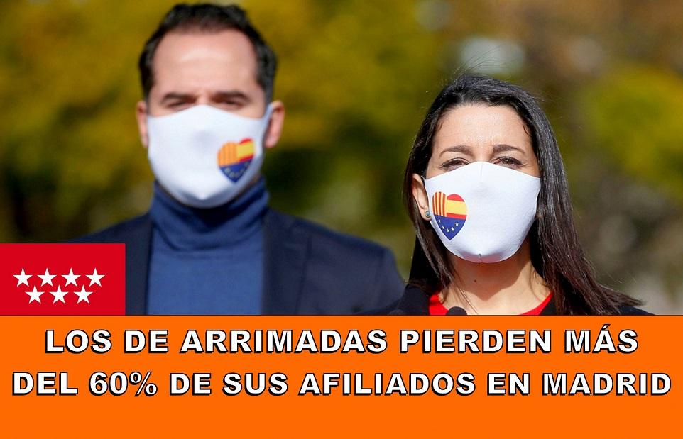 Ciudadanos se queda sin militancia. Los de Arrimadas pierden en solo dos años más del 60% de su militancia en la Comunidad de Madrid.