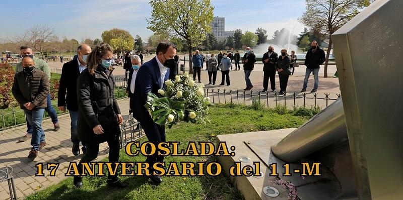 Coslada rinde homenaje a las víctimas del 11-M en el 17º aniversario de los asesinatos.