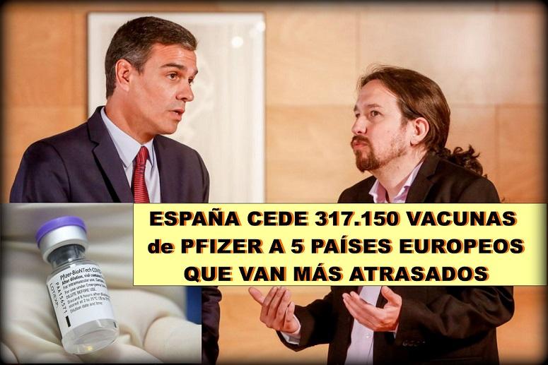 Coronavirus: España cede 317.150 vacunas de Pfizer a 5 países europeos que van atrasados.