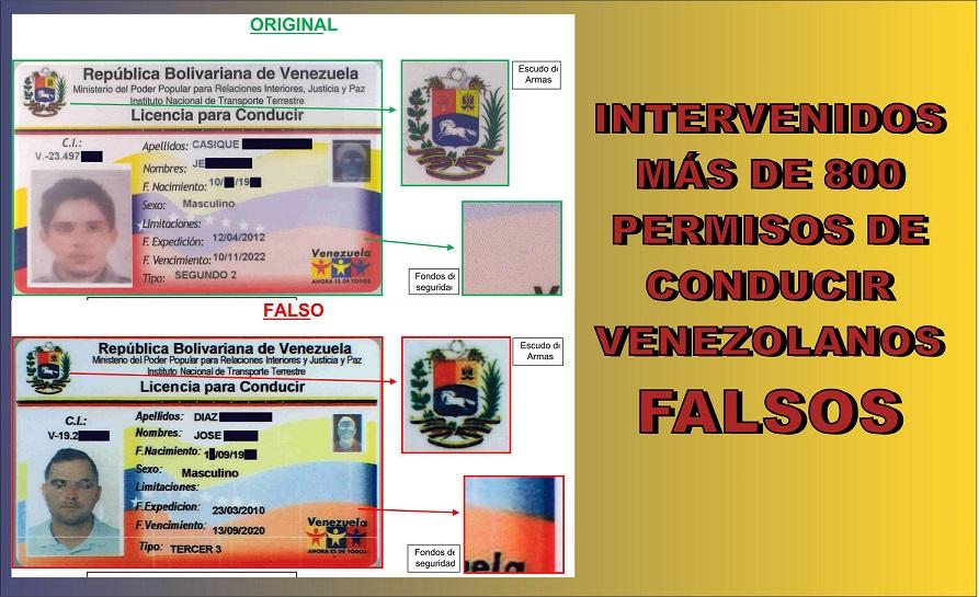 Intervenidos más de 800 permisos de conducir venezolanos FALSOS, preparados para ser canjeados por el carnet español.