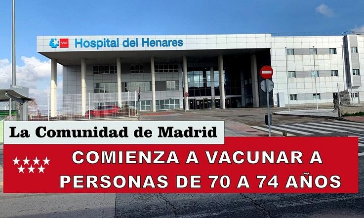 Comienza desde el martes 27, la vacunación a Personas de 70 a 74 años en el Hospital del Henares.