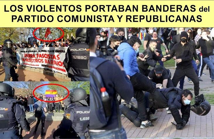 Batalla campal en Vallecas en el mitin electoral de Vox boicoteado por Comunistas radicales.