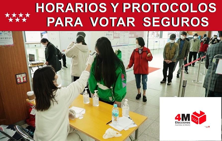 """Estos son los horarios y protocolos para votar """"seguros"""" en las elecciones del 4-M."""