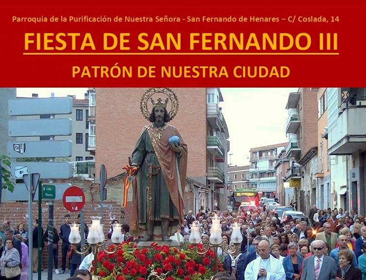 Programa de actos religiosos con motivo de LA FIESTA DE SAN FERNANDO III, Patrón de la Ciudad.