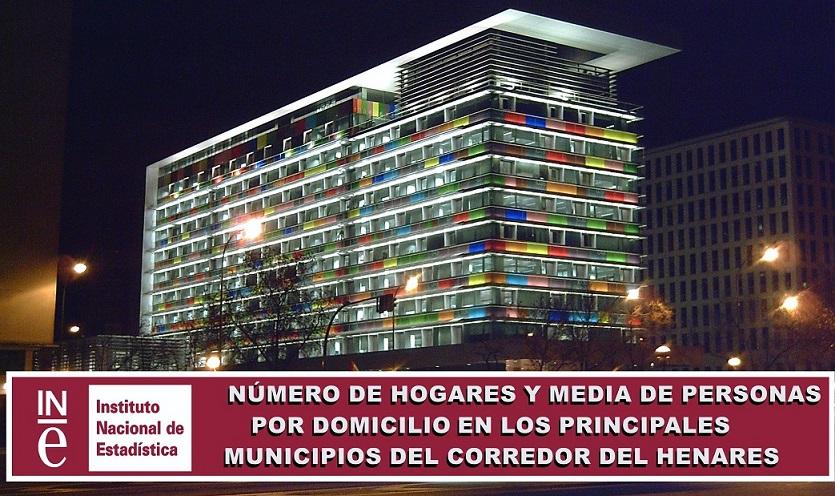 Número de Hogares y media de personas por domicilio, en Alcalá, Coslada, Torrejón y San Fernando de Henares.