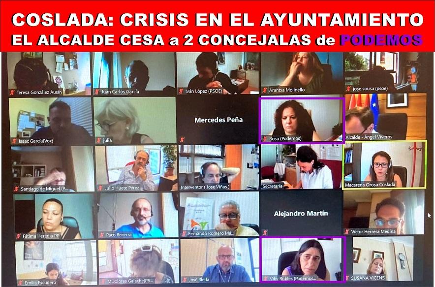 Crisis de Gobierno en Coslada: El alcalde socialista Ángel Viveros, aparta del Gobierno municipal a 2 ediles de Podemos