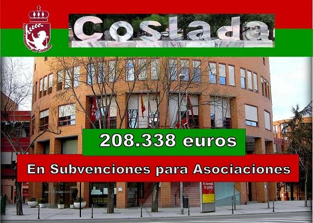 El Gobierno municipal de Coslada aprueba conceder subvenciones por valor de 208.338 €.