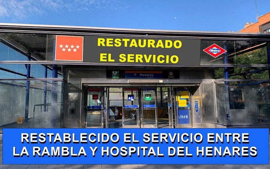 Desde hoy ya Funciona el tramo La Rambla-Hospital del Henares, de la Línea 7B de Metro.
