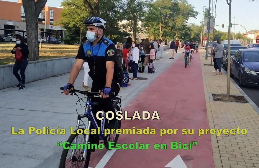 """El programa """"Camino Escolar en Bici"""" de la  Policía Local de Coslada, recibe un Premio a las Buenas Prácticas en Educación Vial de Atesvan-Smart Baby"""