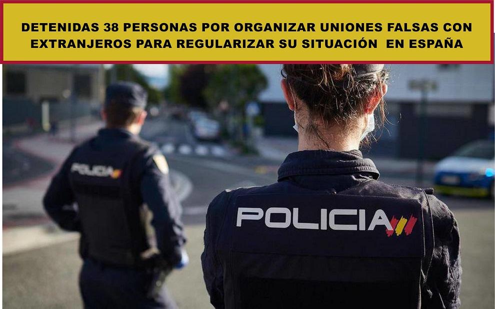 San Fernando de Henares. La Policía Nacional detiene a 38 personas  que organizaban matrimonios falsos con extranjeros, previo pago, para normalizar su situación legal en España.